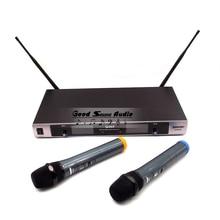 Profesional sistema de micrófono inalámbrico UHF Dual Channel de mano Mic con receptor inalámbrico Mike para conferencia Karaoke canto