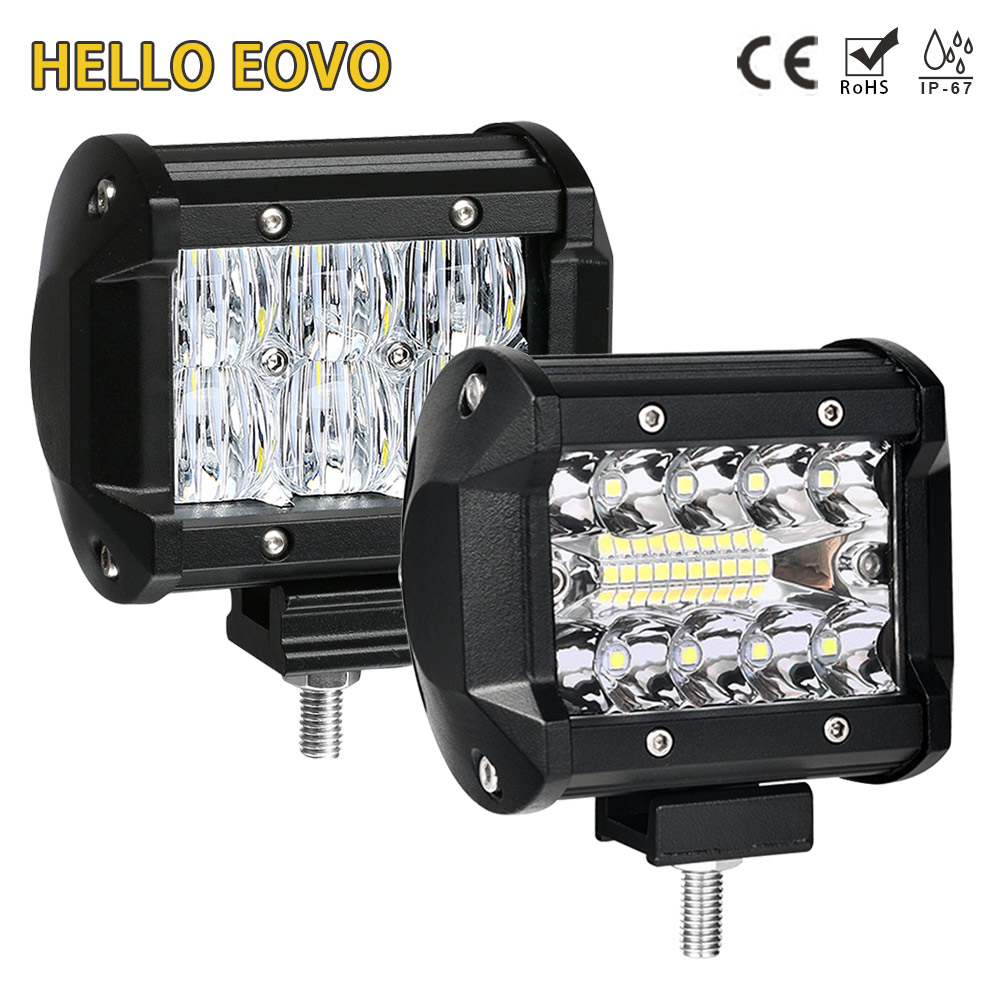 HELLO EOVO 4 inch LED Bar LED Work Light Bar for Indicators Motorcycle Driving Offroad Boat Car Tractor Truck 4x4 SUV ATV 12V hello eovo 5d 32 inch curved led bar led light bar for driving offroad boat car tractor truck 4x4 suv atv with switch wiring kit