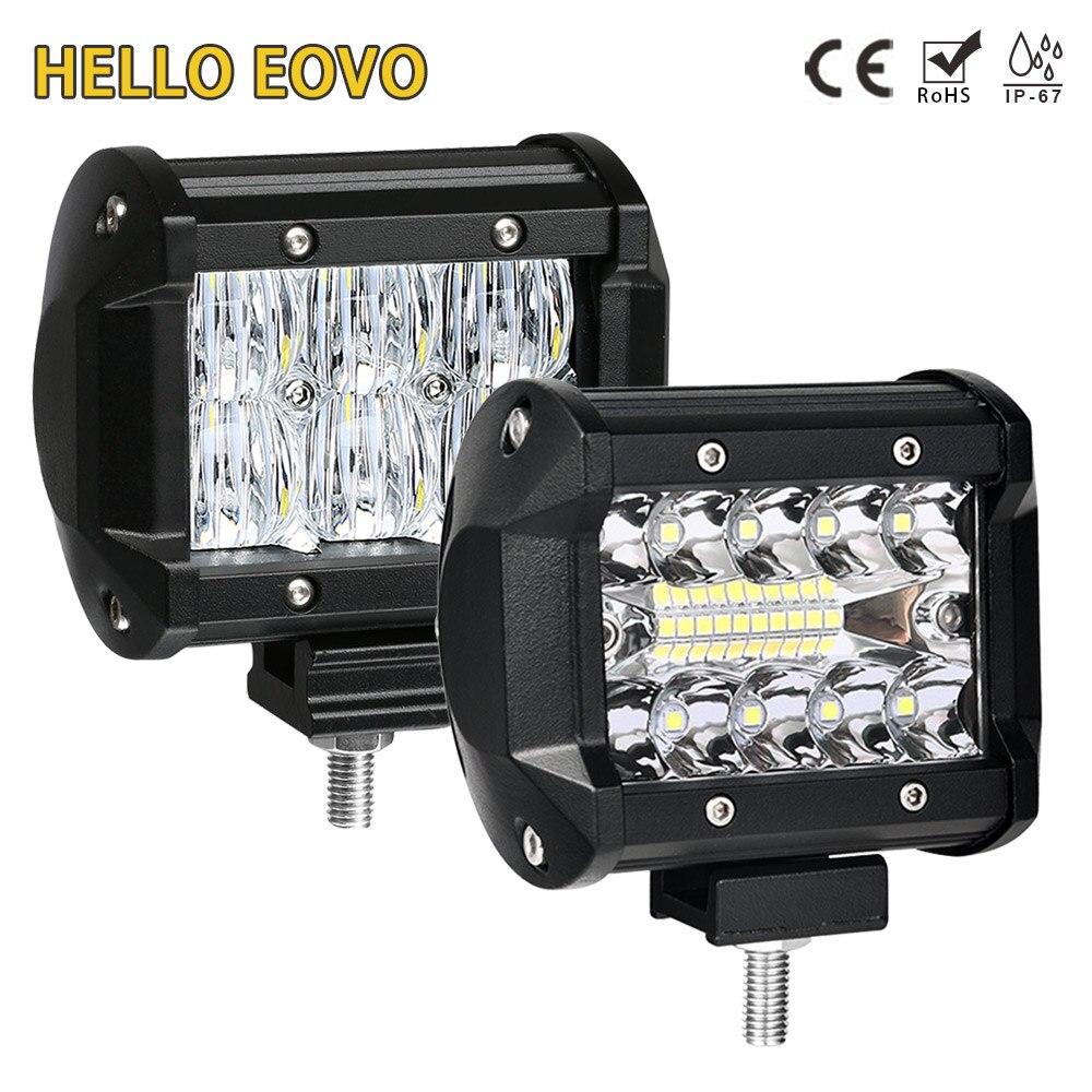 HELLO EOVO Barra de luz LED de 4 pulgadas Barra de luz de trabajo para indicadores de conducción de motocicleta todoterreno barco coche Tractor camión 4x4 SUV ATV 12 V