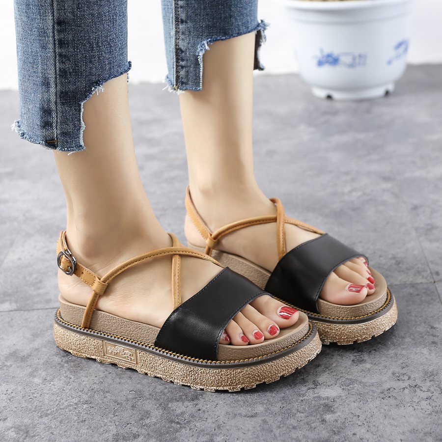 Brand Sandals Sandal Casual Women Buckle Fashion Large Stylish Flat Shoes Size Leather Handueke Platform