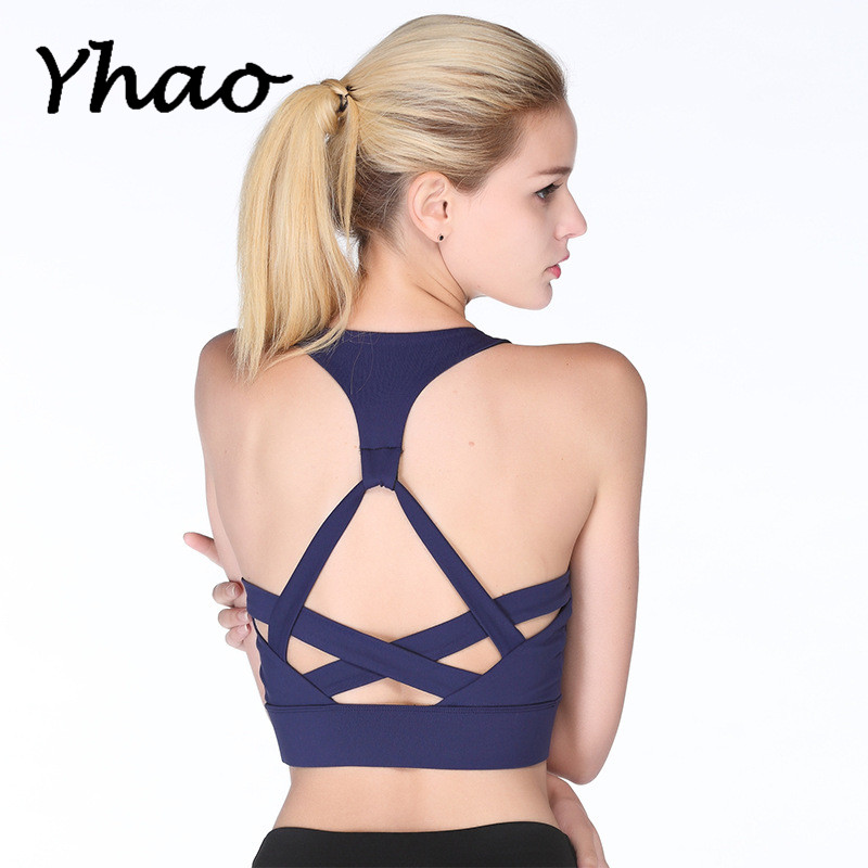 Women Yoga Shirt Cross Designed Back Elastic Shoulder Strap Breathable Sports wireless Shockproof Bra for Running Fitness