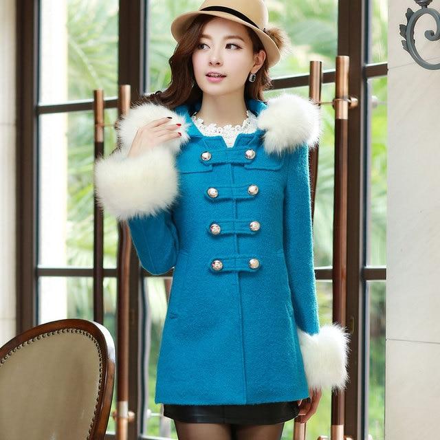 2013 winter women's fashion elegant medium-long double breasted woolen overcoat outerwear 02212213863