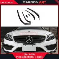 Car Performance Parts Carbon Fiber Front Bumper Aerodynamics Canards For Mercedes C Class W205 Amg 2014
