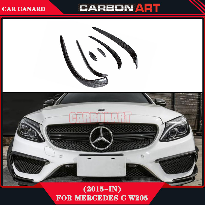 Car Performance Parts Carbon Fiber Canards Front Bumper Aerodynamics for Mercedes C Class W205 AMG Line Sports Model 2014+