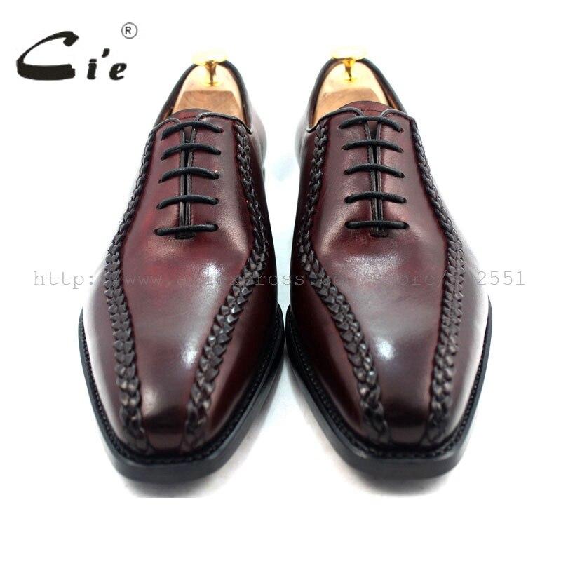 CIE квадратный носок хорошо Окаймленный ткань ручной работы кожаные ботинки мужские из натуральной телячьей кожи; мужские туфли-оксфорды; мужские туфли из натуральной кожи с вином. OX214