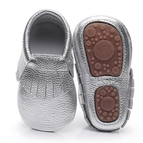 Hongteya Hot Sale Solid Genuine Leather Baby Moccasins Handmade Fringe Baby Shoes Soft Rubber Bottom For Girls Boys 0-4 Years