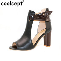 CooLcept Free Shipping Genuine Leather High Heel Sandals Platform Women Sexy Summer Fashion Shoes R233 Hot