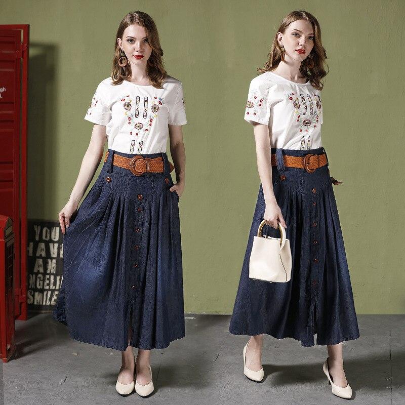 2018 Summer new arrival womens fashion denim skirts long pleated high waist slit elastic 1023