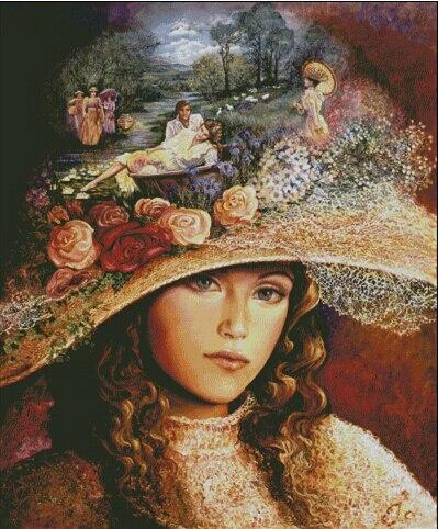 2016 date top qualité 14ct point de croix compté kits huile peinture motif Dame dans un grand chapeau Européenne broderie Maison décor