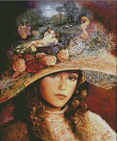 2016 newest top quality 14ct counted cross stitch kits oil painting pattern Lady in a big hat European embroidery Home decor
