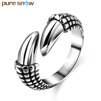 Pure Snow Stainless Steel Claws Open Men Ring Movie Props Black Punk Titanium Steel Finger Rings