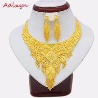Adixyn Dubai Jewelry Set For Women Girls Gold Color Chokers Chain/Earrings Elegant Arab/Ethiopian bridal Wedding Gifts N12287