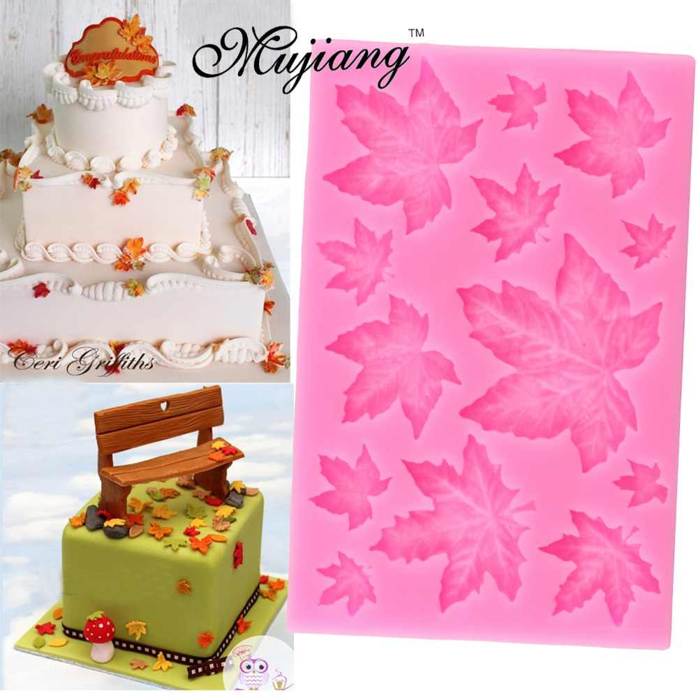 DIY Maple Leaf Silicone Cupcake Baking Mold Christmas Fondant Cake Decorating Tools Gumpaste Chocolate Candy Clay Moulds XL299