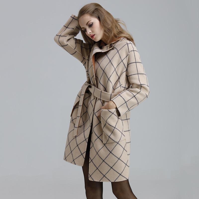 Mince Beige D'hiver Long Plaid Automne Taille Italien bleu Luxe La Outwear Cachemire Cru Lâche Femelle Manteau Femmes De Style Plus Laine xqgHPw044
