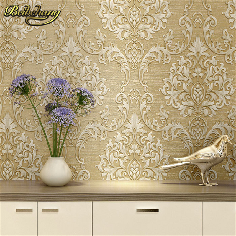 beibehang European Metallic Floral Damask Wallpaper Design Modern Vintage wall paper Textured Wallpaper Roll papel de parede 3d beibehang wall coverings mural wall paper roll bedroom sofa off white textured feature europe vintage glitter damask wallpaper