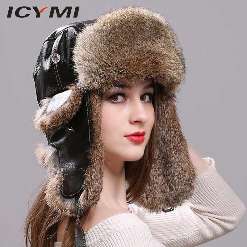 a838c403f14 ICYMI Winter Bomber Hat with Genuine Leather Real Rabbit Fur Snowboard Caps  with Ear Flaps Russian