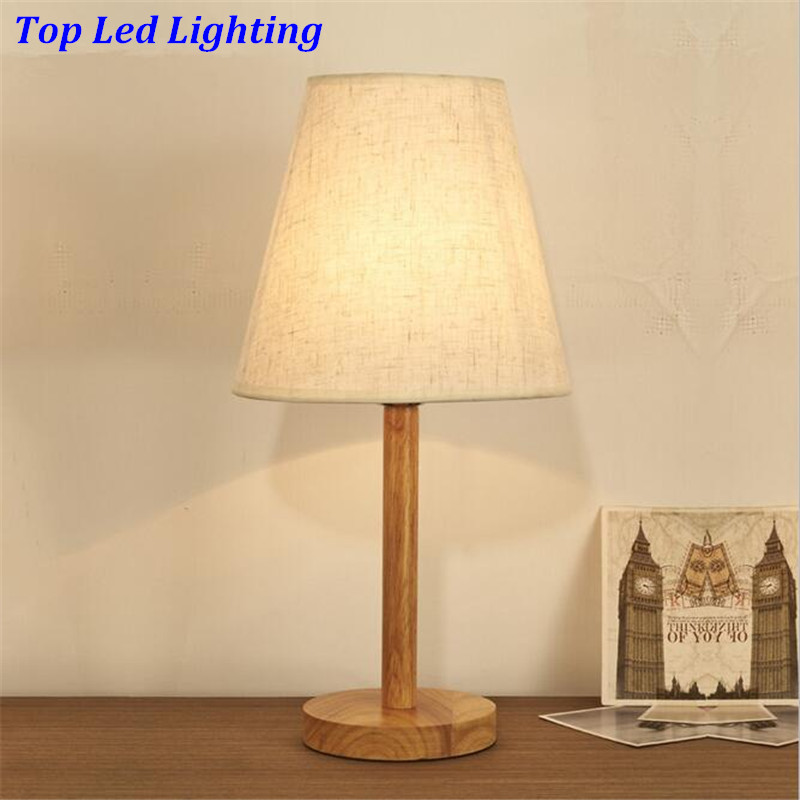 ФОТО Europe Brief Wood Fabric Table Lamps For Bedside Living Room Study Bar Modern Led E27 Desk Lamp AC 80-265V 1180