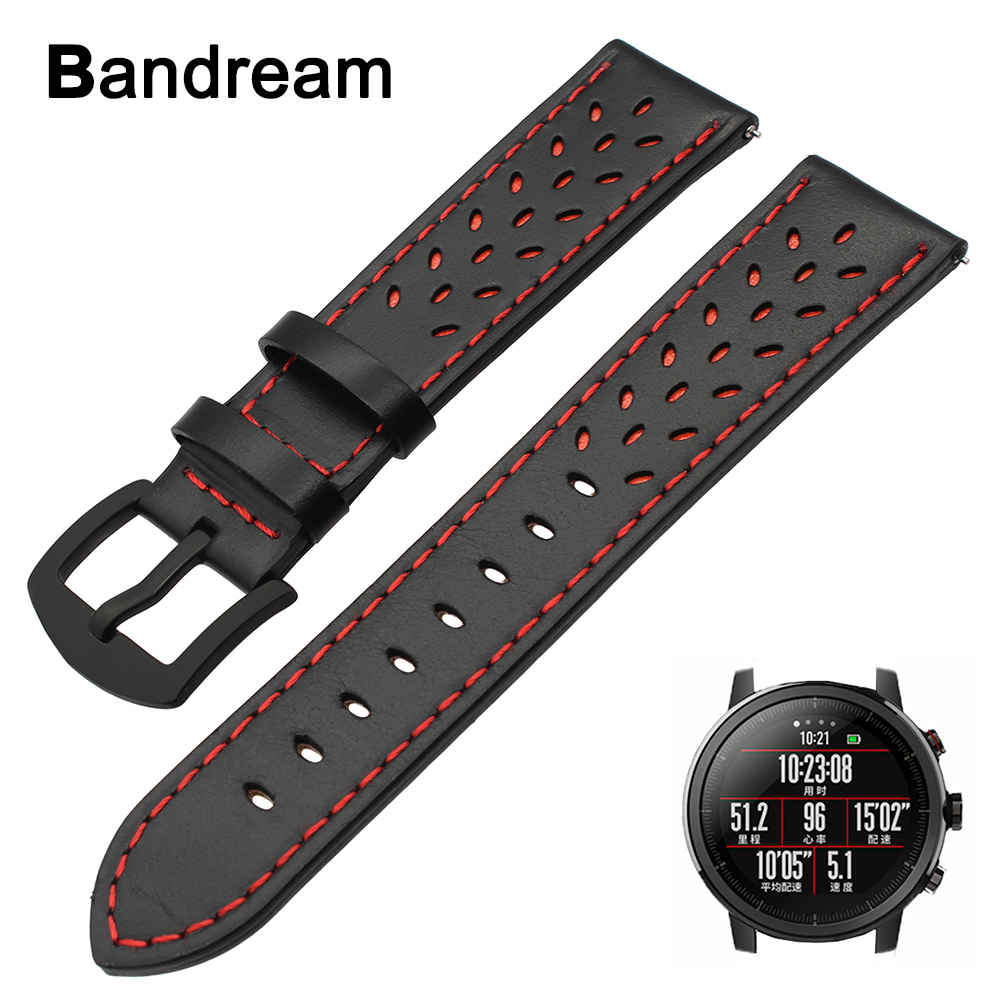 22mm Trefoil Genuine Leather Watchband for Xiaomi Huami Amazfit 2 / 2S Quick Release Watch Band Wrist Strap Steel Clasp Bracelet