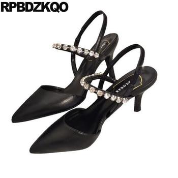 jewel 3 inch pumps rhinestone slingback crystal scarpin mary janes women shoes high heels diamond quality pointed toe ladies