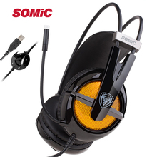 SOMIC G938 Virtual 7.1 Surround Sound Headphones Noise Isolation Headphone USB LED Strong Bass Gaming Headset with Microphone
