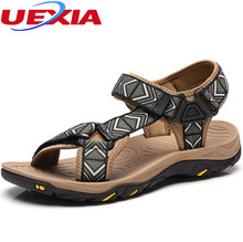 UEXIA casual Men sandals high quality breathable shoes flats shoes mens casual light fashion shallow leather men's sandals Beach