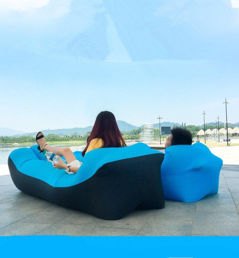 트렌드 야외 제품 빠른 Infaltable 공기 소파 침대 좋은 품질 침낭 풍선 에어백 게으른 가방 비치 소파 240*70cm