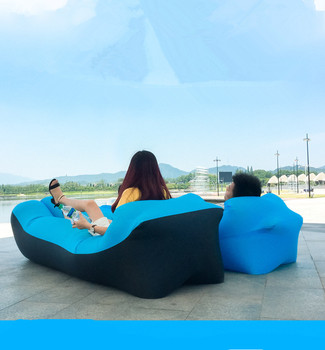 Lazy Pillow Waterproof Lazy Inflatable Sofa Portable Outdoor Beach Air Sofa Bed Sleeping Bag Bed Oxford Cloth 240*70cm