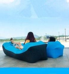 Preguiçoso travesseiro à prova dwaterproof água preguiçoso sofá inflável portátil ao ar livre praia sofá cama saco de dormir pano oxford 240*70cm