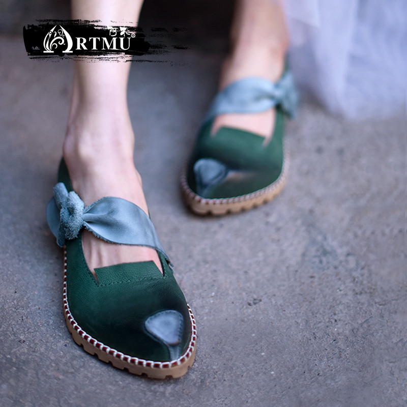 Artmu Original Retro Handmade Women Shoes Cowhide Pointed Toe Shallow Mouth Shoes Butterfly knot Flat Leather Shoes 81685