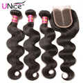 Peruvian Virgin Hair With Closure UNice Hair Bundles With Lace Closures 7A Peruvian Body Wave 3 Bundles With Closure Human Hair