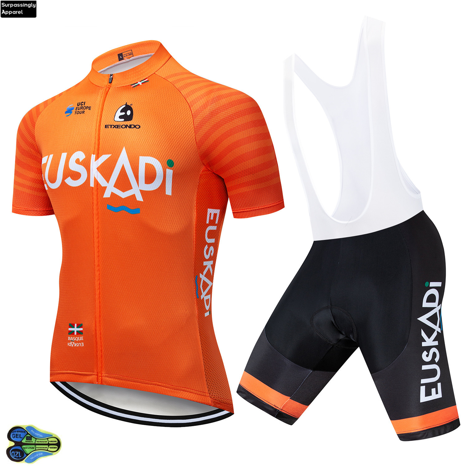 2019 Summer Team Etxeondo Cycling Jersey Short Sleeve Set Orange Cycling Set 12D Bike Jersey Clothing Ropa Ciclismo Sports Suit