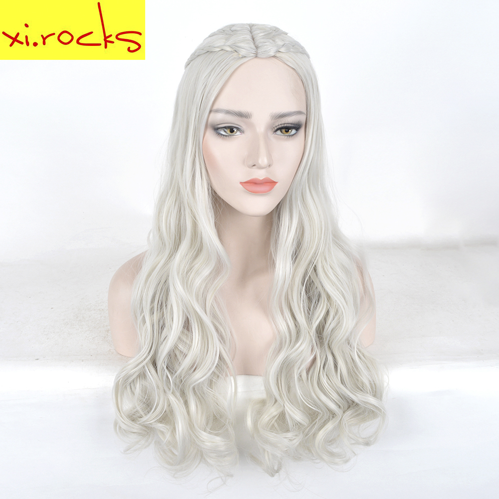 Xi.cocks Game of Thrones Daenerys Targaryen Cosplay Wig Synthetic Hair Long Wavy Wigs Halloween Party Costume for Women