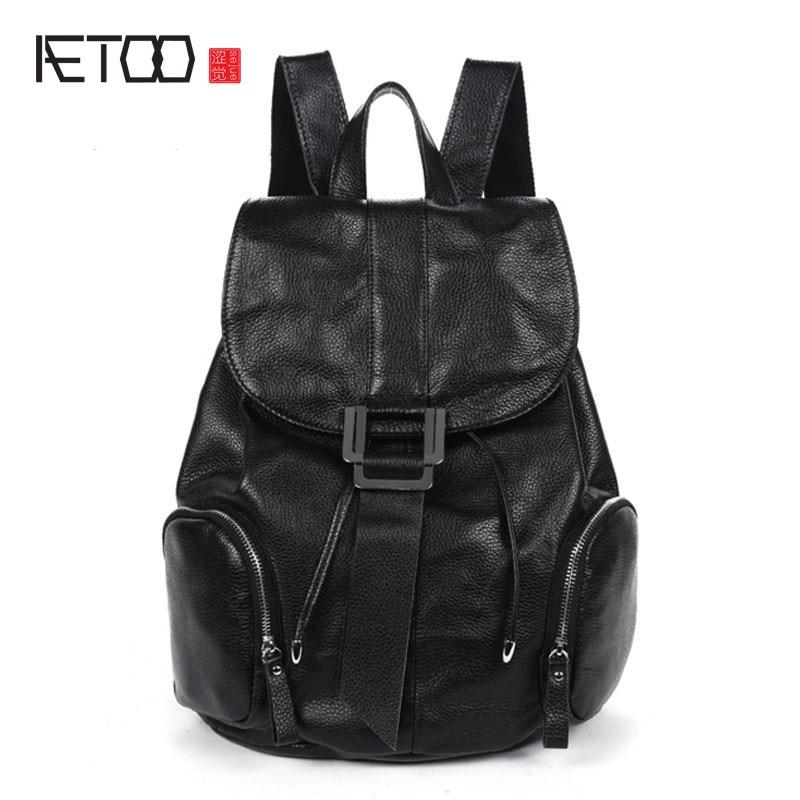 AETOO 2017 new winter retro College Wind shoulder bag genuine leather backpack leisure travel bag women