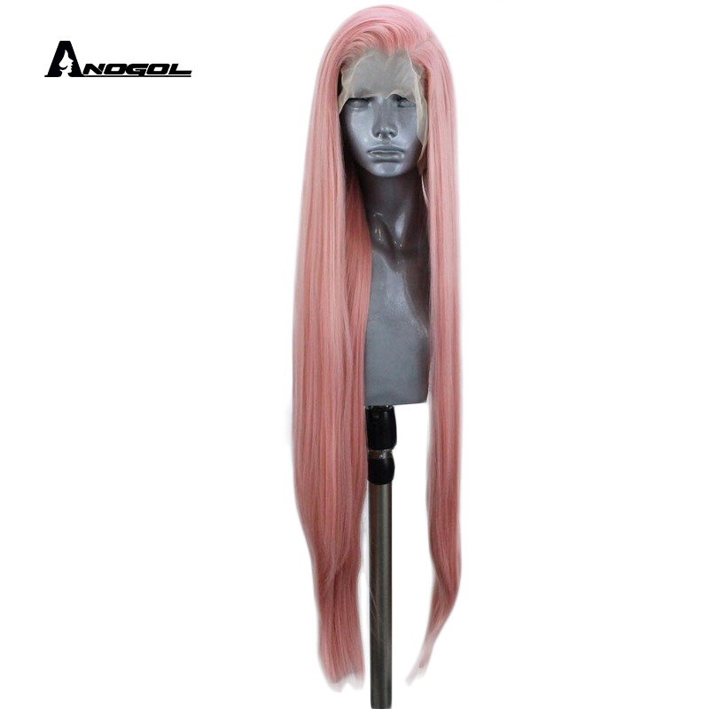 Anogol Peach Pink Free Part 180 Density Long Straight 26 Heat Resistant Full Hair Synthetic Lace