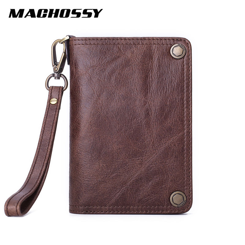 Genuine Leather Wallet Men Zipper Purse Male Card Holder Min Walet Zipper Pocket Fashion Men Wallets Real Skin Purse With Strap