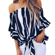 chic women blouse costume female ladies new womens striped printed slash neck top shirt top chic round neck broken hole printed women s crop top