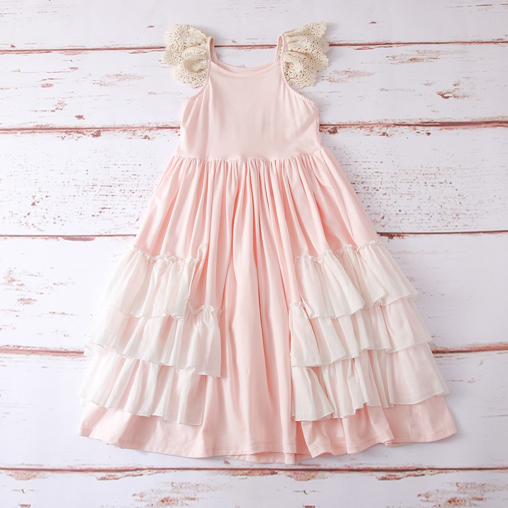 Pink girl long dress,Junior Bridesmaid dress Wedding girl dress Party girl dress Birthday girl dress Lace baby dress Tutu dresses (3)