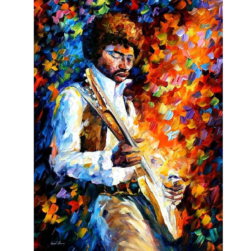Hand Painted Landscape Abstract Jimi Hendrix Palette font b Knife b font Modern Oil Painting Canvas