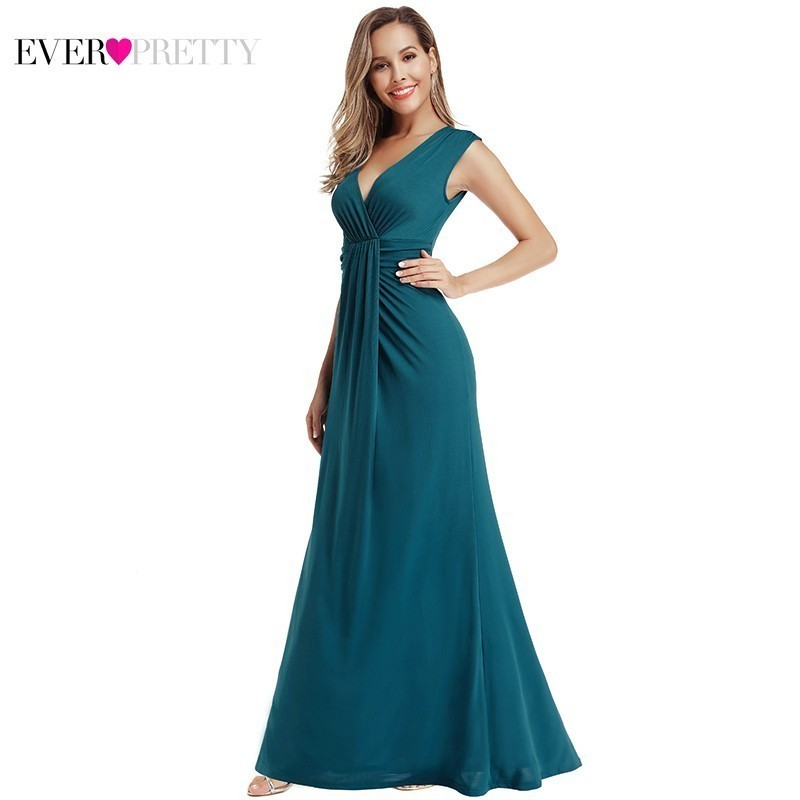 Sexy Mermaid   Bridesmaid     Dresses   Ever Pretty Teal Sleeveless V-Neck Ruffles Wedding Guest   Dresses   Robe Demoiselle D'honneur 2019