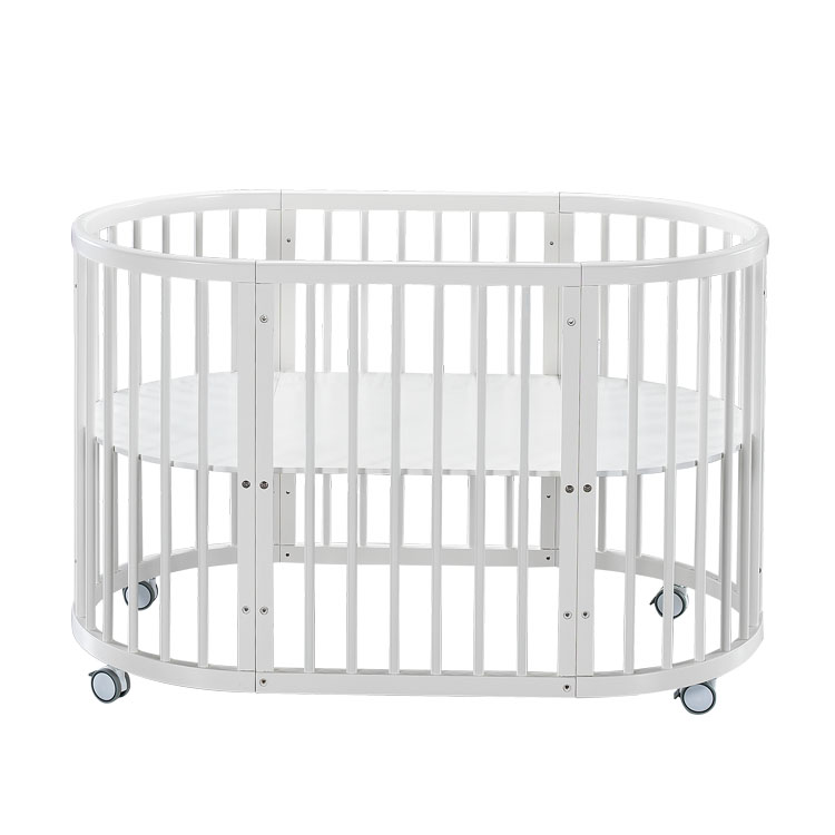Babyfond oval crib solid wood crib stitching bed multifunctional crib with roller 9 patterns цена