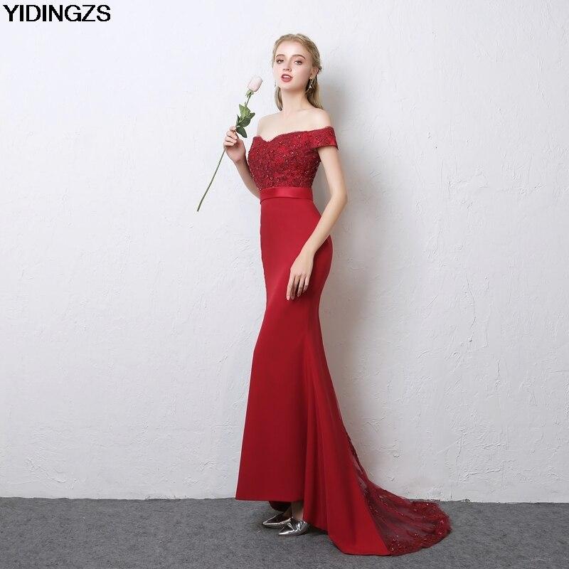 YIDINGZS Robe De Soiree Mermaid Wine Red Long Evening Dresses Party ... 08ef4a6f7b1a