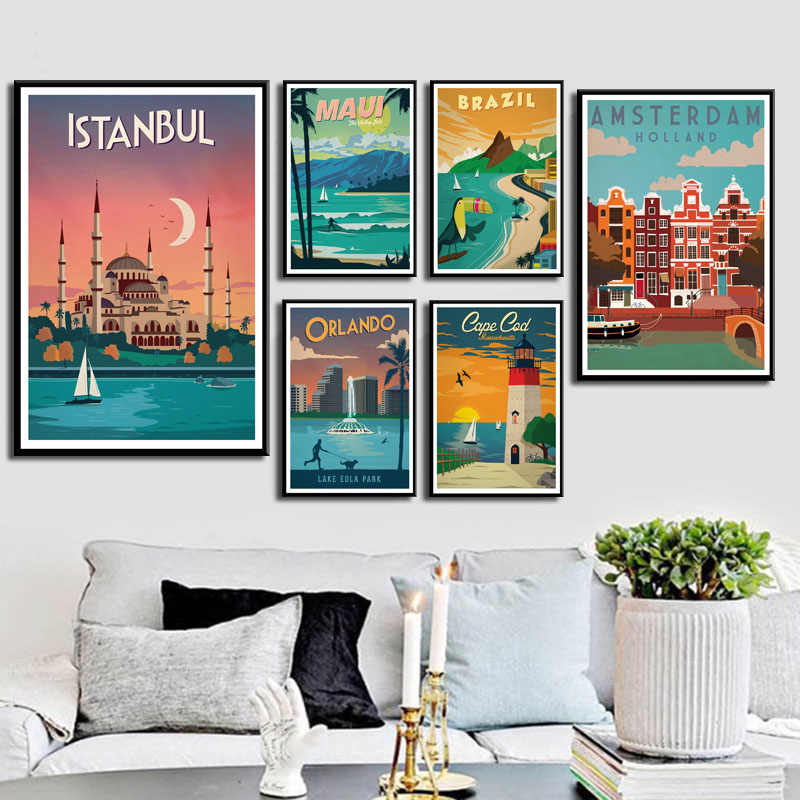 P030 New York Netherlands Amsterdam London Vintage Travel Cities Landscape Art Painting Silk Canvas Poster Wall Home Decor