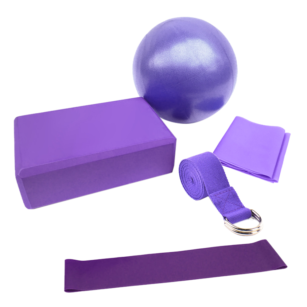 Yoga Ball Set,Include Ball Block Stretching Band Cotton Strap  Resistance Loop Ban 1