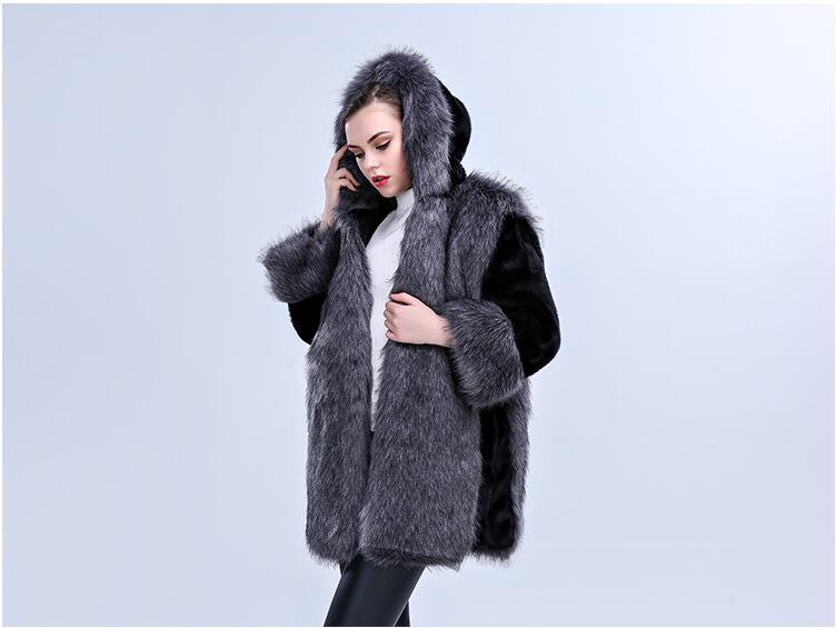 Imitation Tempérament Automne Fourrure Et D'hiver Avec Chapeau Luxe 2017 Manteau De Mode Femmes Vison Nouvelle dOwq5CX