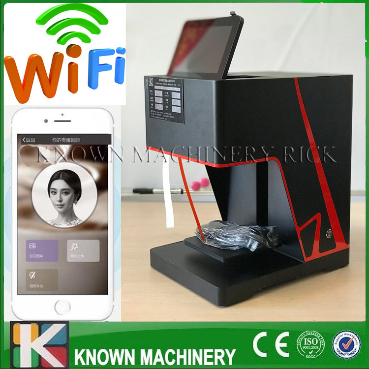 The hot sale latte art printing edible food coffee printer phone scan QR code directly with free shipping to door serve digital inkjet printing machine coffee printer with edible ink