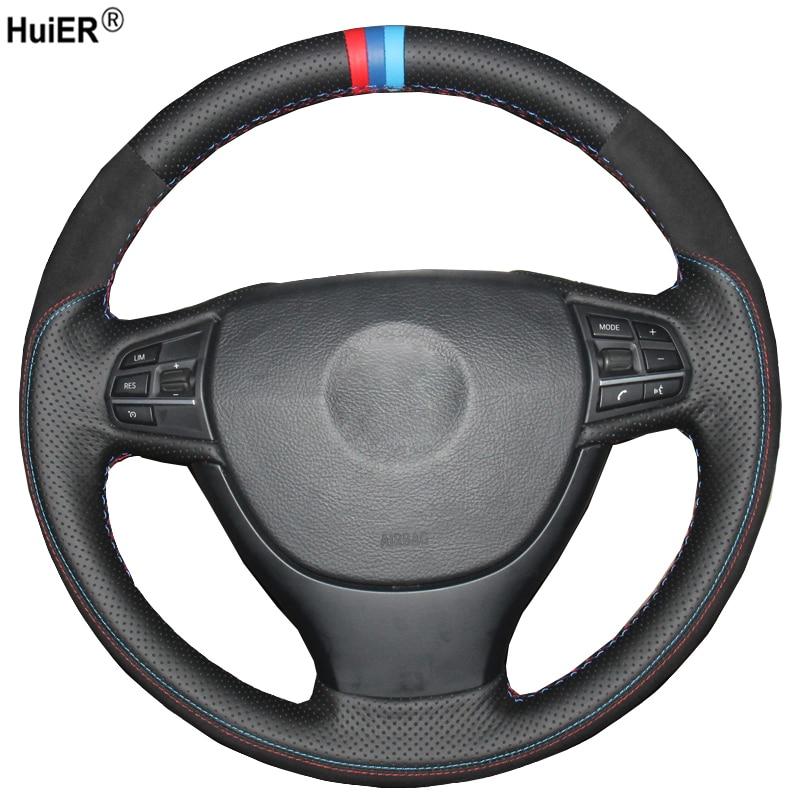 Hand Sewing Car Steering Wheel Cover Suede Leather For BMW F10 523Li 525Li 2009 730Li 740Li