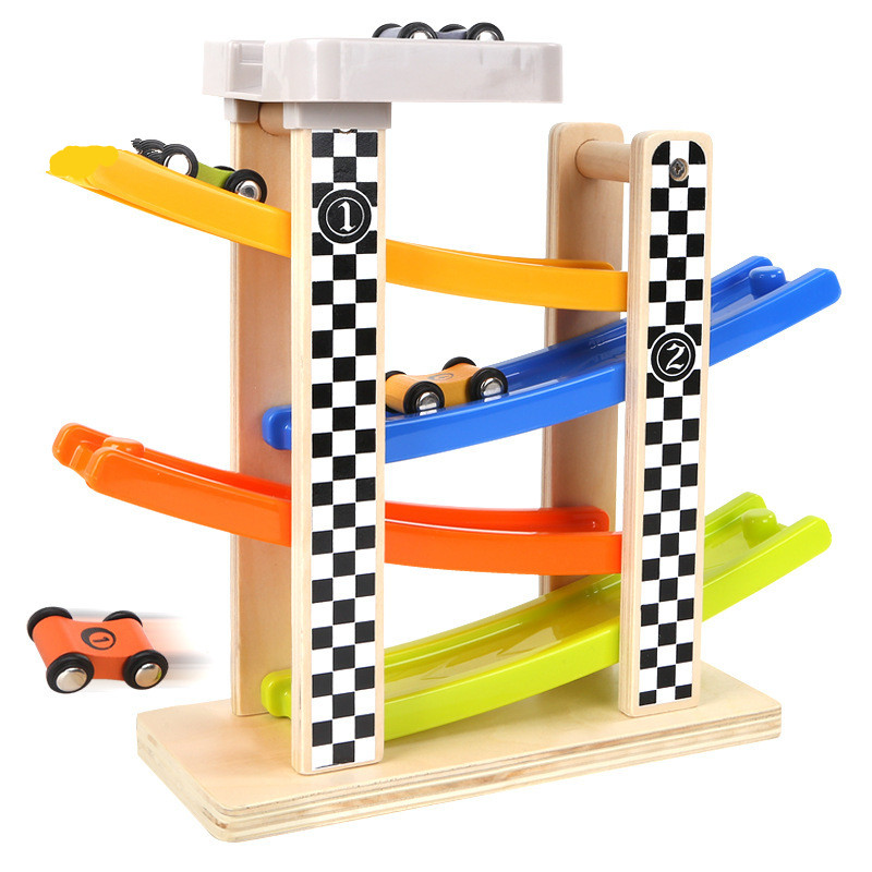 1PCS/Set Wooden Track car slide Children Traffic Rail Toy Disassembling Combination Track Intersection Baby Educational Toys