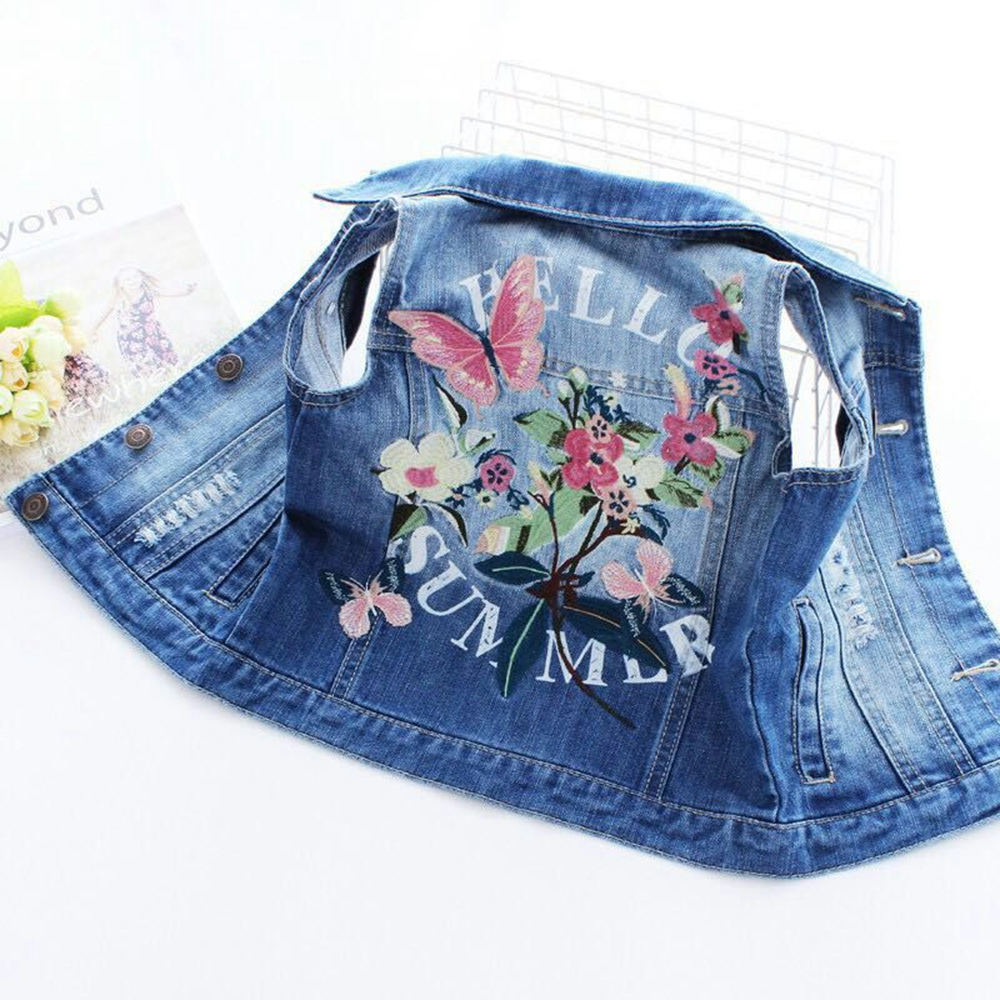 2-8T Top Quality Brand Spring Kids Vest Jeans Jacket Denim Outerwear Flower Printed Clothes Kids Jeans Vest Children Clothing 2016 new top quality hot sale fashion dsel brand men jeans straight dark blue color printed jeans men ripped jeans 982