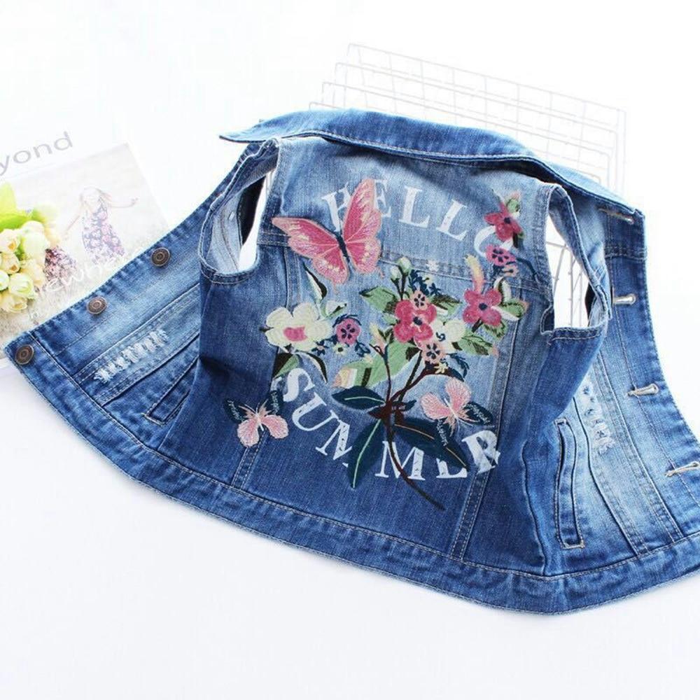 2-8T Top Quality Brand Spring Kids Vest Jeans Jacket Denim Outerwear Flower Printed Clothes Kids Jeans Vest Children Clothing каталог mr penguin