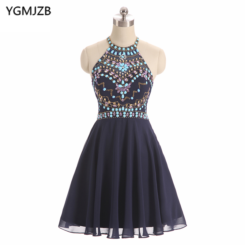 Short   Cocktail     Dresses   2018 New Fashion A Line Halter Beaded Crystal Royal Blue Short   Dress   Chiffon Party   Dress   Robe De   Cocktail